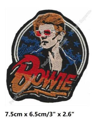 "3"" David Bowie Face Logo Iron On Patches ROCK PUNK DIY Embroidered badge rockabilly music band pop electronic experimental"