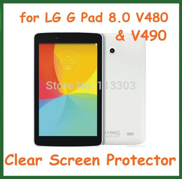 Wholesale- 5pcs Transparent LCD Screen Protector Protective Film for LG G Pad 8.0 V480 V490 Tablet PC No Retail Package Size 206*118.5mm