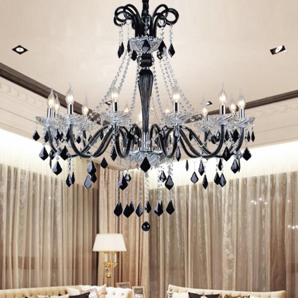 Lustres en cristal noir led transparent cristal lumière moderne lustre noir cristal pendentifs moderne salle à manger chambre led lustre
