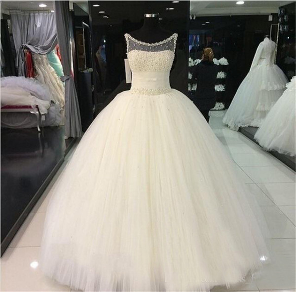 top popular Illusion Neck Floor Length Real Pictures Spring Princess Ball Gown Wedding Dress Vintage Wedding Dresses Cheap Bridal Gowns 2021