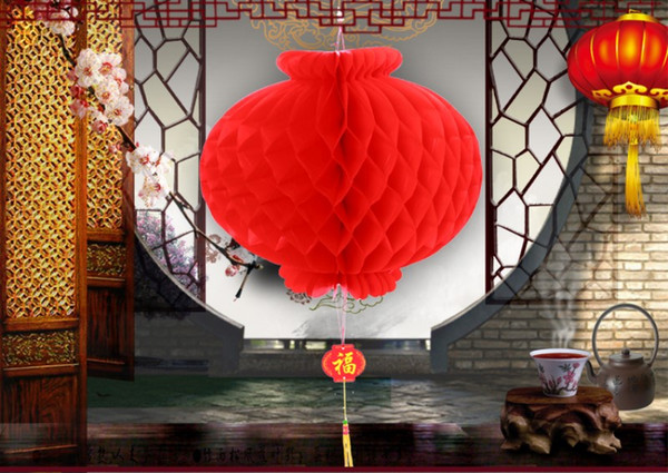 Free Shipping 8 inch (20cm) Chinese Traditional Red Paper Lanterns New Year Celebration Supplies Festival Party Wedding Decoration