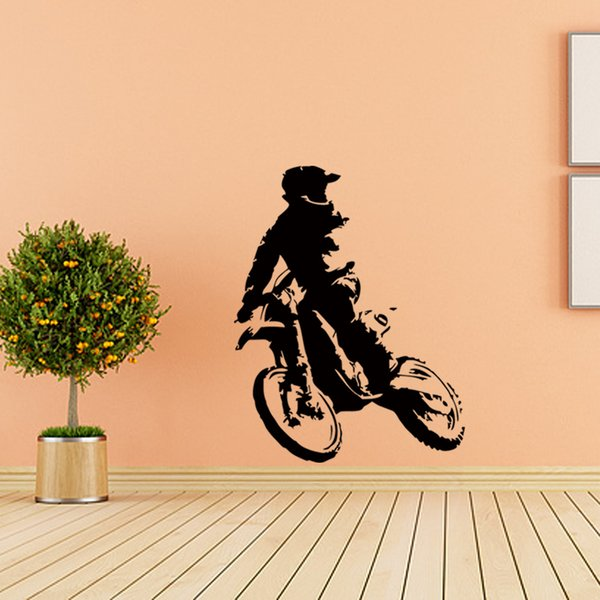 Motor Cross Wall Sticker Home Decor Accessories Vinyl Self Adhesive Wall Decal For Boys Room DIY