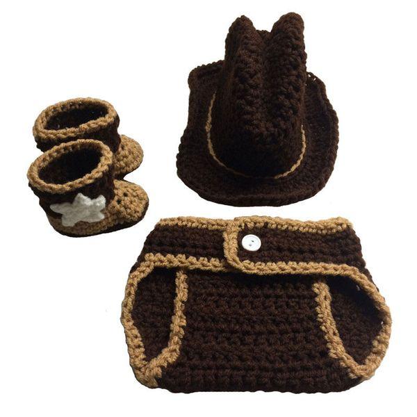So Cool Newborn Knit Cowboy Costume,Handmade Crochet Baby Boy Girl Cowboy Hat,Diaper Cover Booties Set,Infant Halloween Costume Photo Prop
