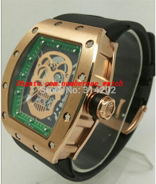Montres de luxe or squelette cadran vert hommes tennis sports bracelet en caoutchouc noir montre pour homme montres-bracelets de mode pour hommes