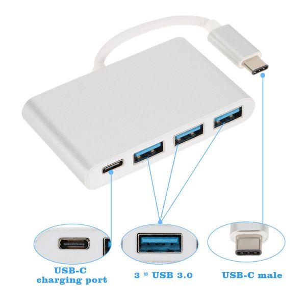 UBS 3.1 Adaptateur de port de chargement HUB type C à USB 3.0 haut débit de type C à 3 ports pour le nouveau MacBook 12