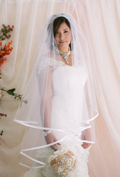 Two layer wedding Veil Ribbon Edge Bridal Veil White Ivory Champagne Fingertip Length with comb tulle 195a
