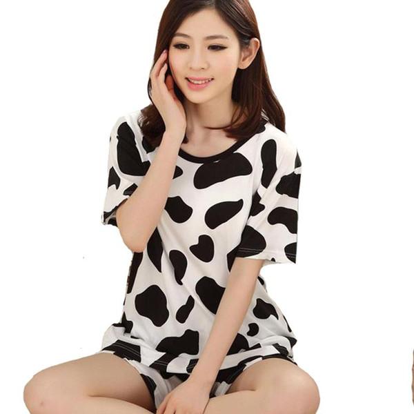 Femmes pyjamas ensembles 2016 été chaud automne manches courtes coton mince pyjamas ameublement vêtements bande dessinée imprimer mignon plus la taille