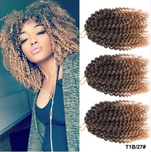 top popular free shipping 3 pcs set Marlybob 8-10inch Synthetic braids crochet twist hair Ombre brown braiding hair curly Crochet Hair Extensions 2020