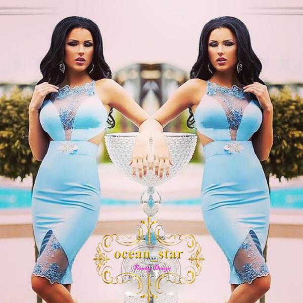 2017 vestidos de fiesta de la envoltura azul apliques cuentas sin mangas vestido de cóctel corto de alta calidad joya cuello vestidos de fiesta de raso caliente
