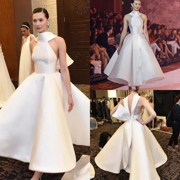 Stylish Backless Short Wedding Dresses A Line Halter Neck Ankle Length Taffeta Cheap Plus Size