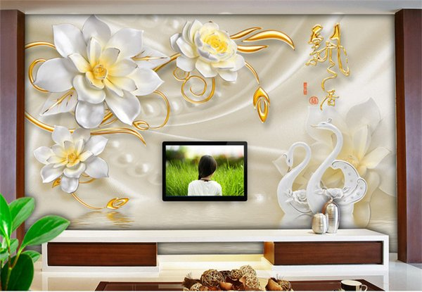 Custom 3d Wall Mural Wallpaper Luxury Silk Swan Flower Jewelry Tv Background Wall Papers Home Decor Living Room Modern Painting Full Hd Wallpaper Full