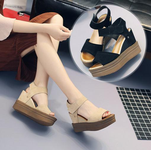 Summer new European and American magic stickers sandals Sexy high-heeled leather fish mouth shoes