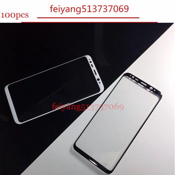 100pcs Full 3D Curved Tempered Glass Film 9H Front Protective Screen Protector For Samsung Galaxy S8 G950/ S8 Plus G955