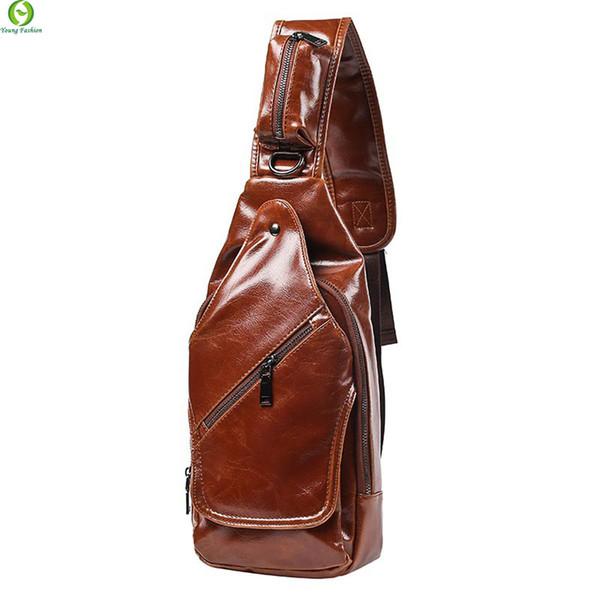 All'ingrosso-Nuovo stile di moda Crazy Horse Leather Men petto pacchetto borsa piccola CrossBody Borsa a tracolla Leisure travel mini bag Black Brown