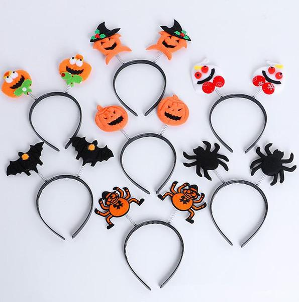 Halloween Party Fancy Dress Costume Led Glow Headbands Pumpkin Bat Spider Wizard Light Up Spring Bopper Headband dress up props