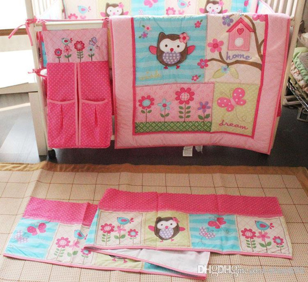 Girl Baby Bedding Set Cotton 3D Embroidery Owl Bird Quilt Bumper Bedskirt Fitted Urine bag 8 Pieces Set Pink Color