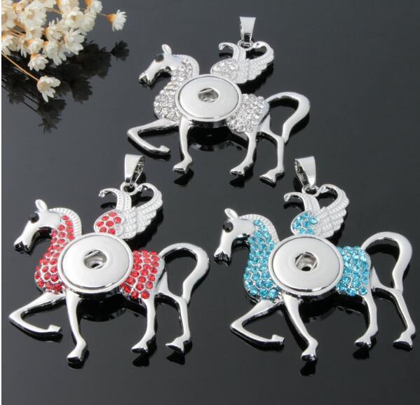 Sweet Eyes Cavalo ganso com strass multi cor 10 pcs noosa colar de pingente de botão de pressão pingente fit 18mm charme jóias diy acessórios