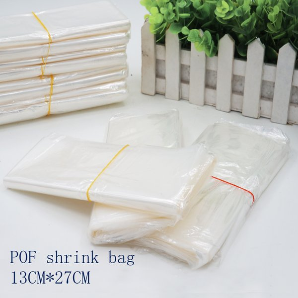 13*27cmPOF Shrink Wrap Bags white POF Film Wrap Cosmetics Packaging Bag Open Top Plastic Heat Seal Shrink Storage Bag Spot 100/ package