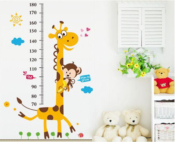 831 Kids Height Chart Wall Sticker Home Decor Cartoon Giraffe Height Ruler Home Decoration room Decal Wall Art Sticker Wallpaper