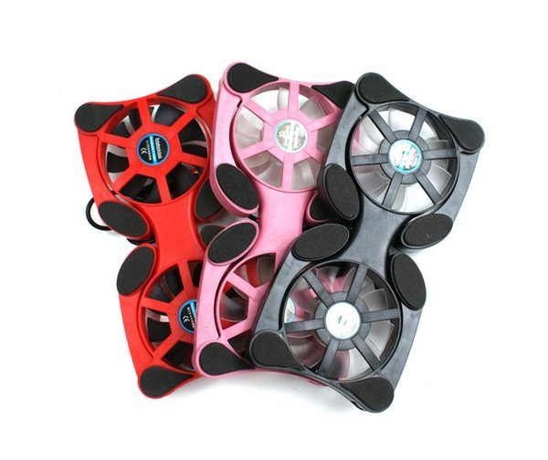 Wholesale- Foldable USB Cooling Fan Mini Octopus Cooler Cooling Pad Safety Stand Double Fans For 7-15 inch Notebook Laptop