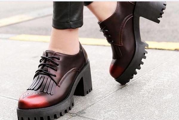 Кисточкой обувь толстым дном толщиной с женщинами круглая голова одной весной новые штаммы с высокими каблуками
