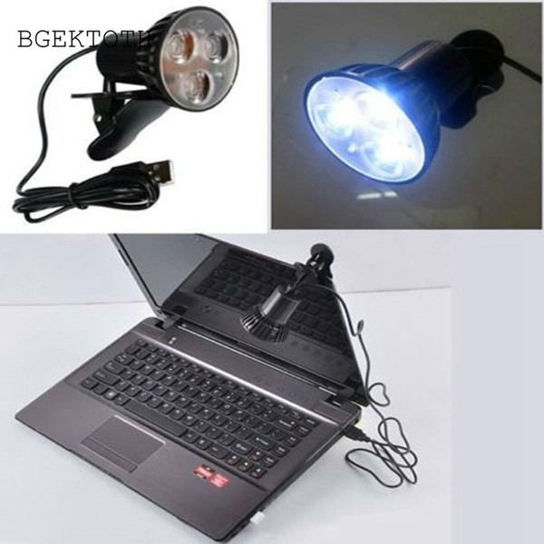 Wholesale- BGEKTOTH Flexible Super Bright 3 LED Clip On Spot USB Light Lamp For Laptop PC Notebook Computer Work At Night Eye protection