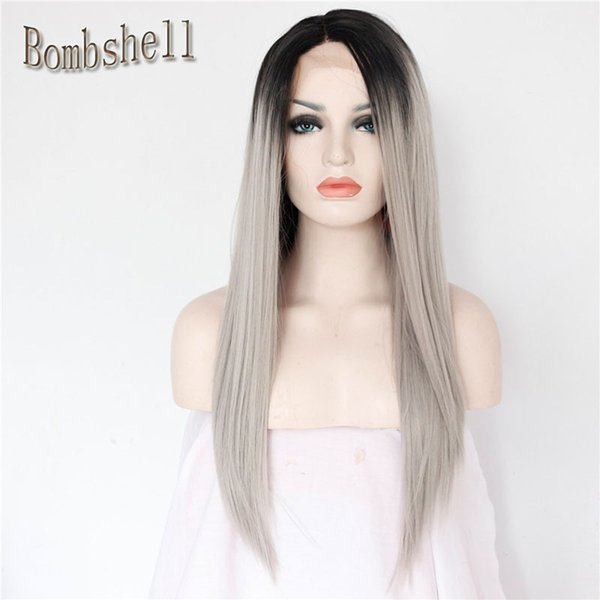 Free Shipping synthetic lace front wig heat resistant two tone glueless black grey ombre synthetic lace front wig