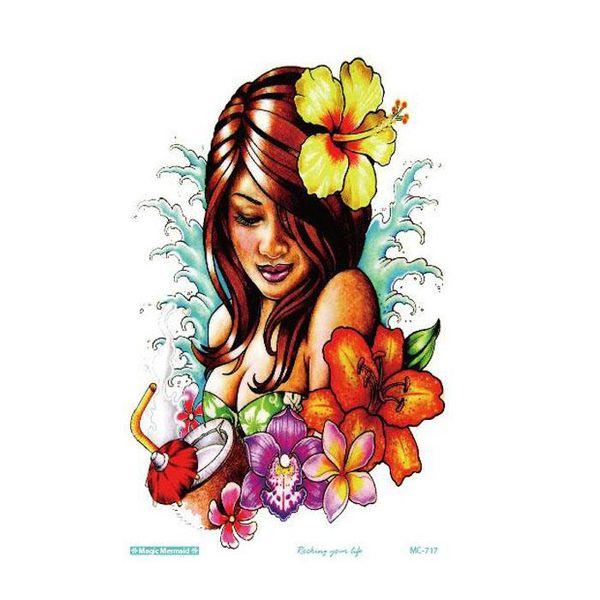 Sıcak Satış Yeni Basit Serin Dövme Kız çiçek ile 19x12 cm Su Geçirmez Geçici Dövme Etiket ücretsiz gemi