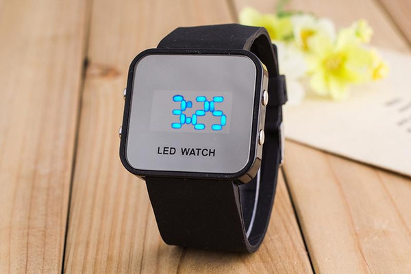 Simple candy-colored female students the trend of Korean sports LED mirror electronic watch children watch