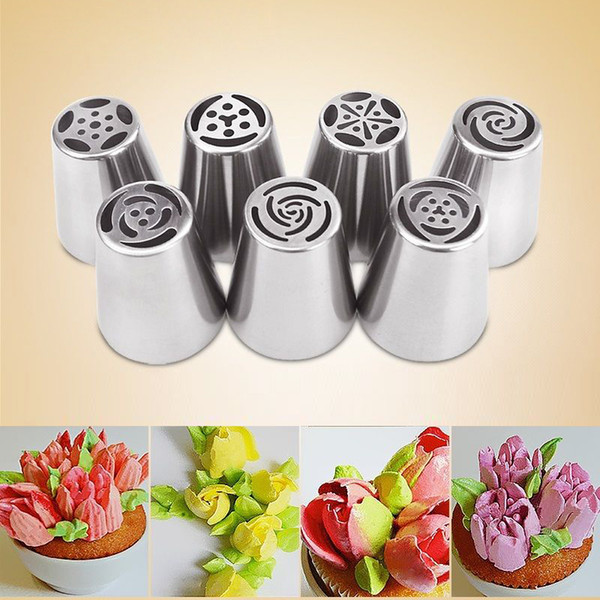 Wholesale- 7Pcs/set Russian Tulip Icing Piping Nozzles Cake Decoration Tips 3d printer nozzle Biscuits Sugarcraft Pastry Baking Tool DIY