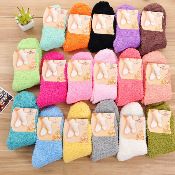 top popular Wholesale- Fuzzy Socks for Women Winter Fluffy Doudou Material Thick Warm Fleece Sleep Socks 2021