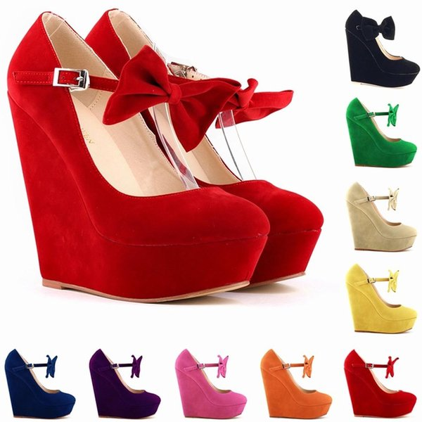 Chaussure Femme Womens Sexy Suede High Heels Bow Wedges Shoes Platform Strappy Autumn Summer Shoes Women Size US 4-11 D0061