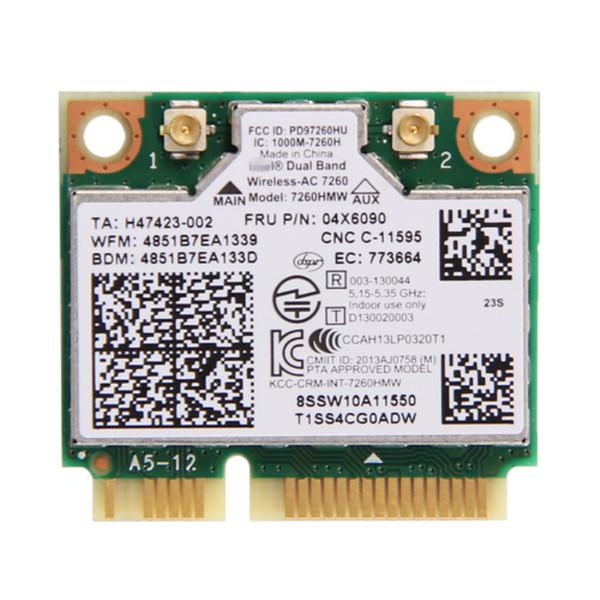 Wholesale- Dual Band For IBM Thinkpad Intel Wireless-AC 7260 7260HMW 802.11ac Mini PCI-E Wifi + Bluetooth 4.0 Wlan Card FRU 04X6090