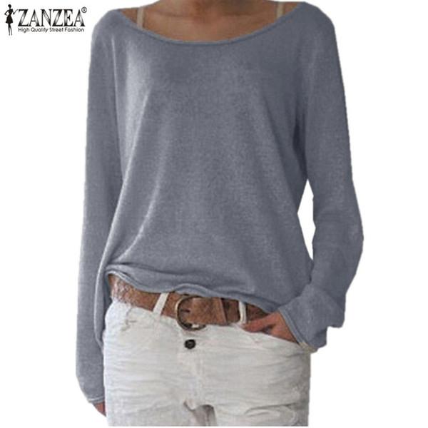 24b5dae89c7 Wholesale- Zanzea 2017 Fashion T-Shirt Women Spring New Long Sleeve Knitted  Tops Tees