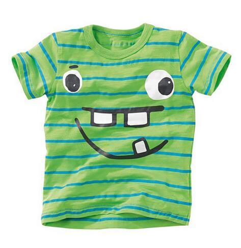 BST15 NEW ARRIVAL Little Maven Boys Kids 100%Cotton Short Sleeve Smile Face Stripped print green T shirt Boys causal summer t shirt