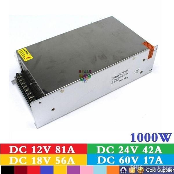 Fuente de alimentación universal DC 12 V 83.3A Interruptor de encendido del transformador de voltaje 1000W 1000W para la iluminación de la tira del LED Lámpara CCTV del CNC