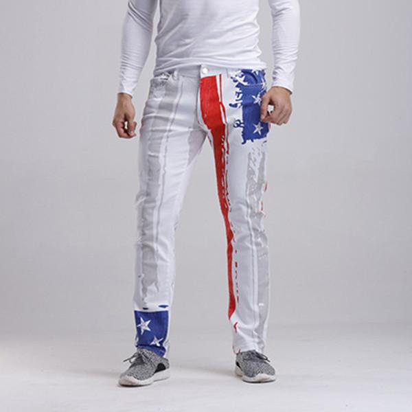 Wholesale- 2016 New Fashion Mens Brand Designer American USA Flag Printed Jeans Straight Slim Fit Trousers Plus Size Denim Pants For Men