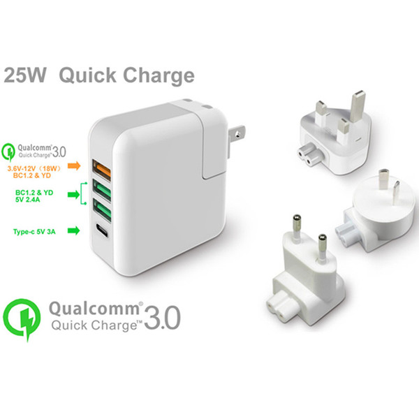 High Speed USB Fast Wall Charger Portable Travel Charger Power Adapter QC 3.0 25W With Type C Folding Plug for iPhone 7 6s Plus Android