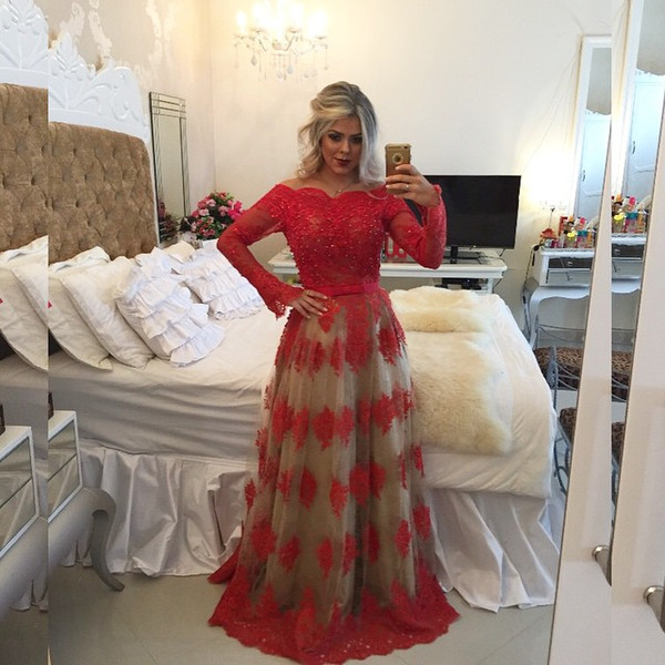 Sexy Long Sleeve Red Prom Dresses 2017 Boat Neck Applique Pearls Long Prom Party Gowns Sexy Backless Evening Gowns Custom Made