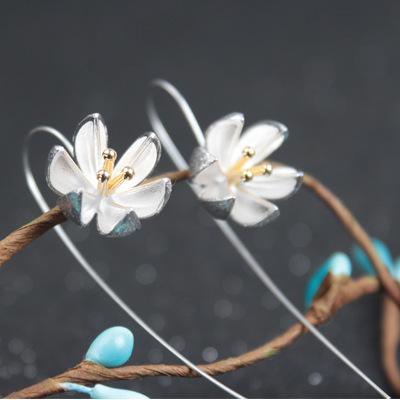 925 sterling silver earrings earrings handmade flowers drawing lotus FS123