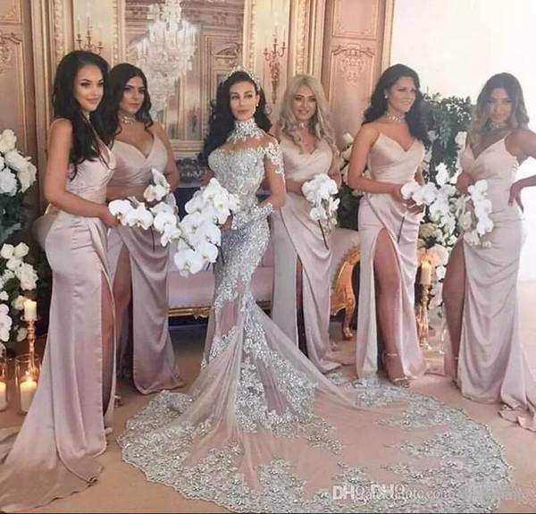 Side Split sirena dama de honor vestidos 2017 vestidos de dama de honor largos Sexy espaguetis correas profundo v cuello sin espalda satén vestidos de baile largos