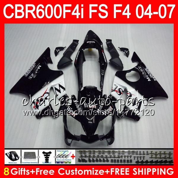 8Gifts 23Colors Pour HONDA CBR 600 F4i CBR600F4i 04 05 06 07 46HM4 Noir Ouest CBR600FS FS CBR600 F4i CBR 600F4i 2004 2005 2006 2007 Carénage