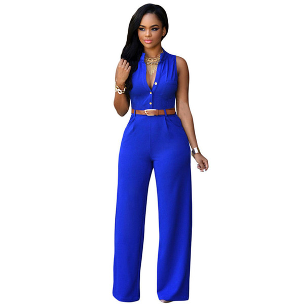 2017 Promotion Fashion Big Women Sleeveless Maxi Overalls Belted Wide Leg Jumpsuit Plus Size Macacao Long Pant Elegant Jumpsuits 12 Colors