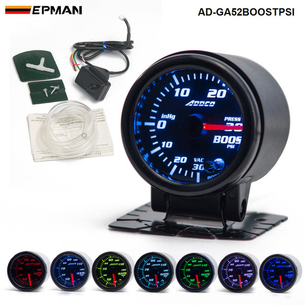 """top popular Car Auto 12V 52mm 2"""" 7 Colors Universal PSI Turbo Boost Gauge LED With Sensor and Holder AD-GA52BOOSTPSI 2021"""