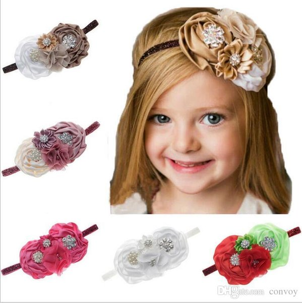 Baby Headbands Big Flowers Kids Rhinestone Pearl Sparkle Headband Girls Elastic Chiffon Satin Hairbands Children Hair Accessories KHA124