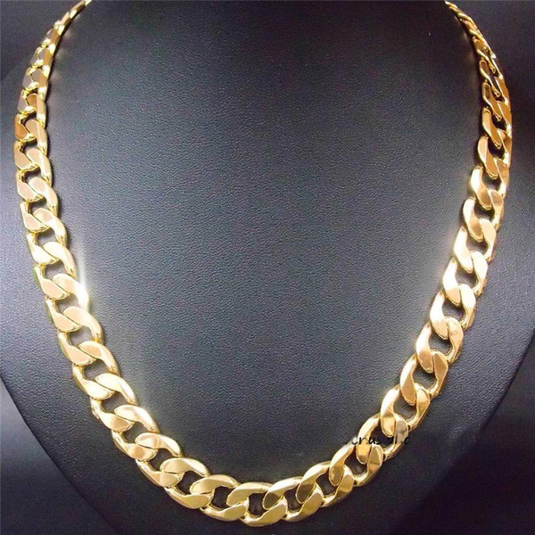 """24"""" 12mm 24k yellow gold filled men's necklace curb chain jewelry (STAMPED 24k)"""