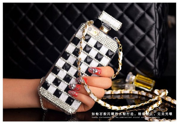For Samsung galaxy note 4 5 8 Luxury Diamond Rhinestones Perfume Bottle Mirror chain case cover