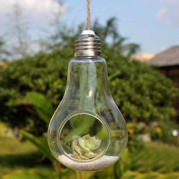 2017 neue Glasbirne Lampe Form Blume Wasserpflanze Hängen Vase Hydroponischen Behälter Topf Home Office Hochzeit Decor