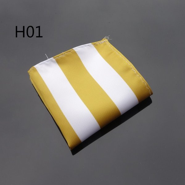2017 new Hankerchief Gold White Wide Striped Hanky Men Tie Jacquard Woven Pocket Square Fashion