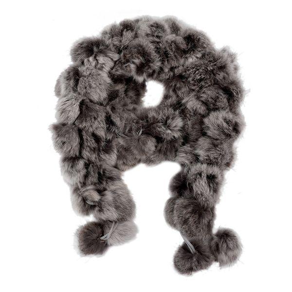 Wholesale- SAF 2016 NEW Rabbit Fur Soft Winter Wear Collar Neck Warmer Scarf Wrap Shawl Gray